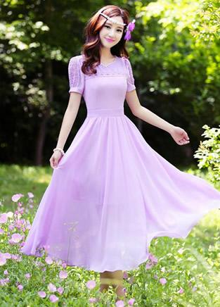 清秀纯色连衣裙 美得像个仙女一样!