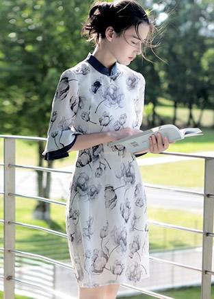 复古旗袍连衣裙,尽显静雅淑女气质