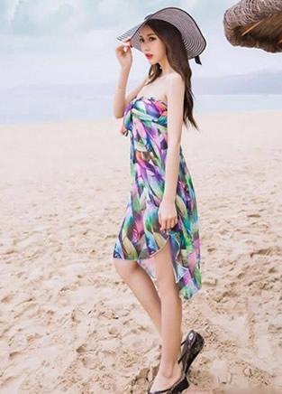 雪纺抹胸连衣裙 夏季穿搭出行性感显气质
