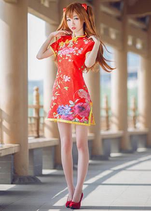 妹子旗袍装Cosplay明日香·兰格丽