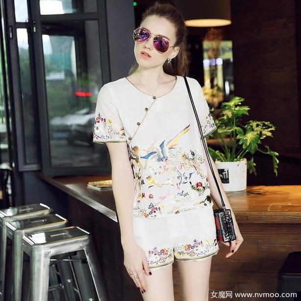中国风刺绣棉麻套装