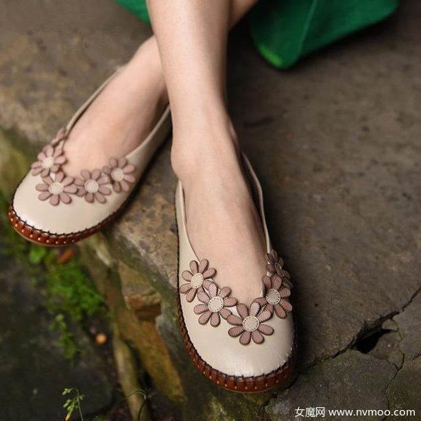 森女甜美花朵浅口单鞋